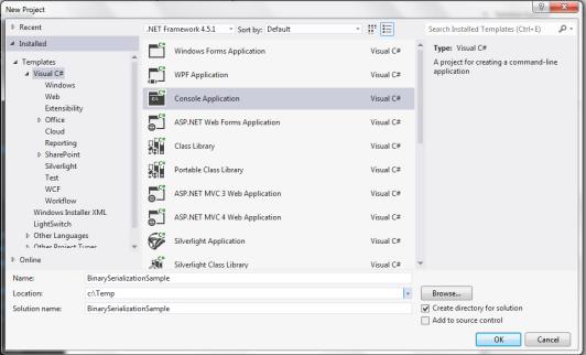 Create Binary Serialization Sample Application