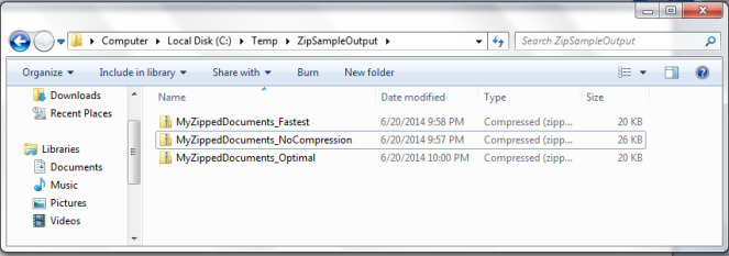 Zip File output - CompressionLevel