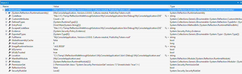 .NET Reflection - Assembly.GetExecutingAssembly() Watch Window