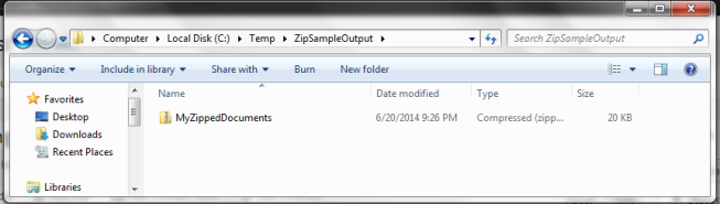 Zip File in our output folder